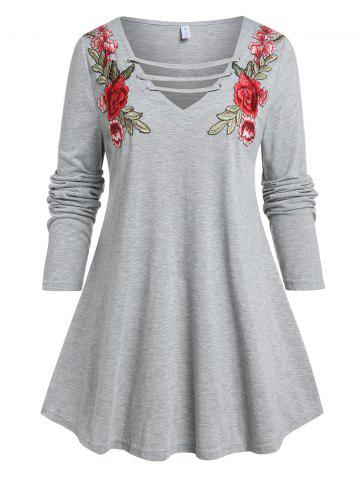 Plus Size Flower Embroidered Ladder Cutout Tunic Tee - GRAY - 4X