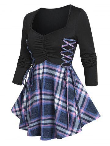 Ruched Bust Plaid Flare T Shirt