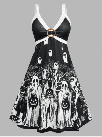 Plus Size O Ring Ghost Printed Dress