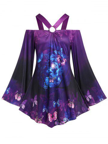 Plus Size Bell Sleeve Butterfly Print Cold Shoulder Tee - PURPLE - 5X