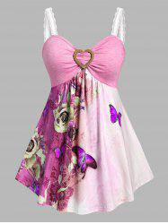 Plus Size Butterfly Flower Skirted Backless Tank Top -