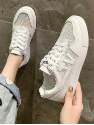 Letter Pattern Mesh Lace Up Flat Sneakers -