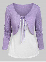 Knotted Heathered Cropped T-shirt and Cami Top -