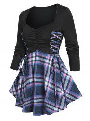 Ruched Bust Plaid Flare T Shirt -
