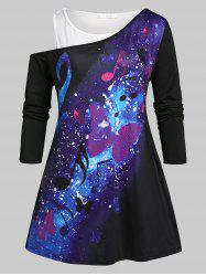 Plus Size Galaxy Butterfly Print Skew Neck Tee and Tank Top Set -