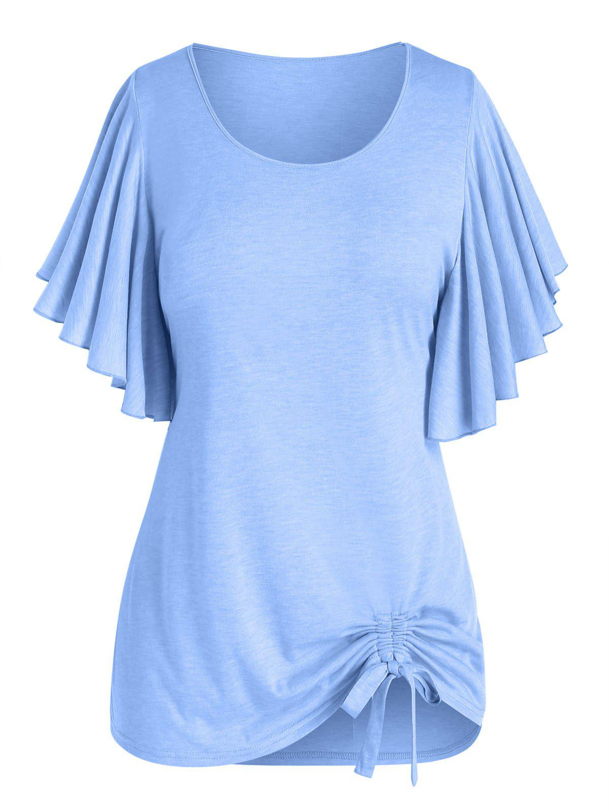 Outfit Plus Size Butterfly Flutter Sleeve Cinched Tunic T-shirt