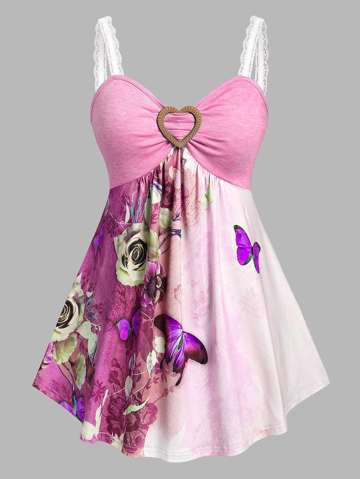 Shop Plus Size Butterfly Flower Skirted Backless Tank Top