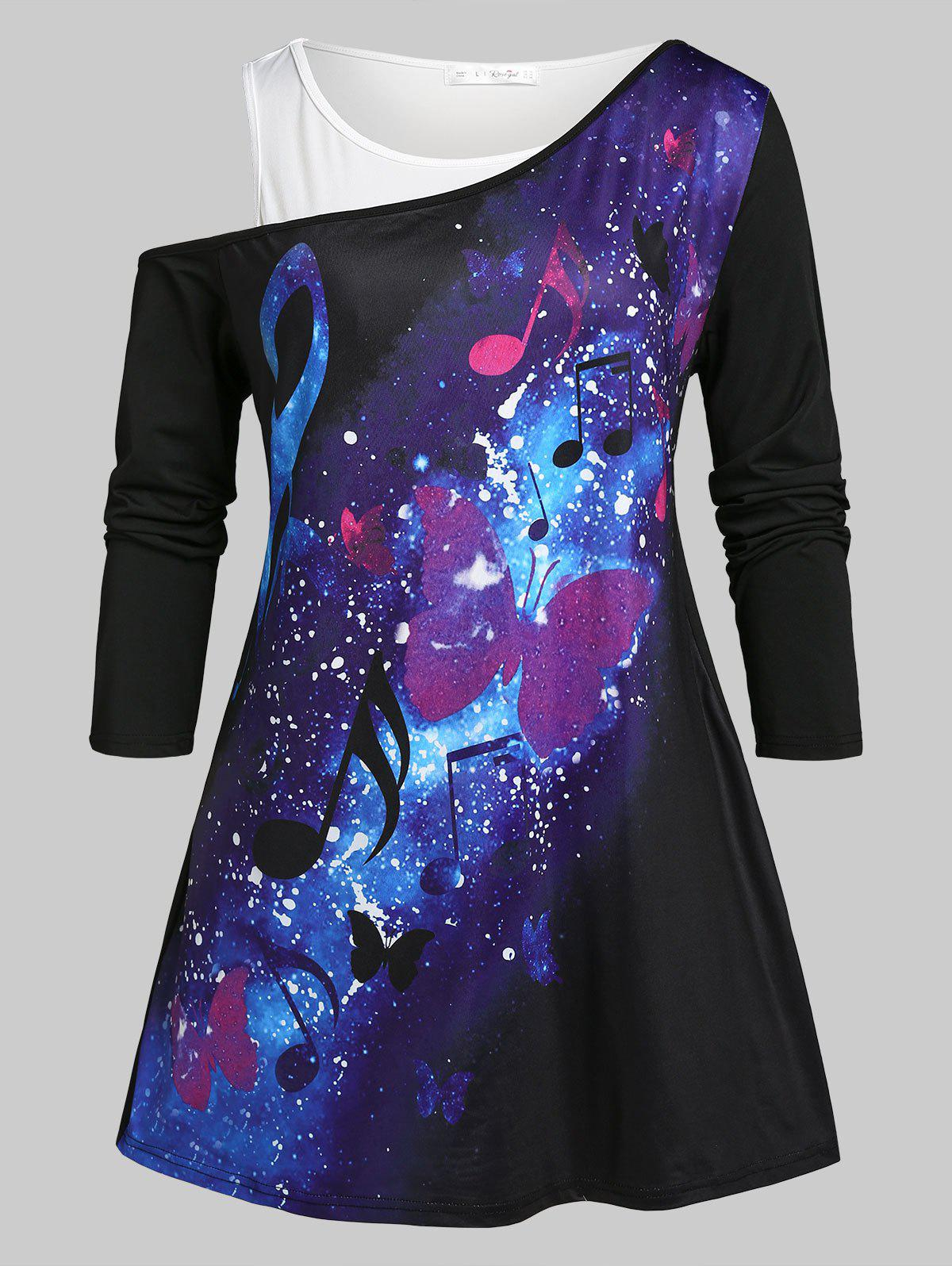 Fashion Plus Size Galaxy Butterfly Print Skew Neck Tee and Tank Top Set