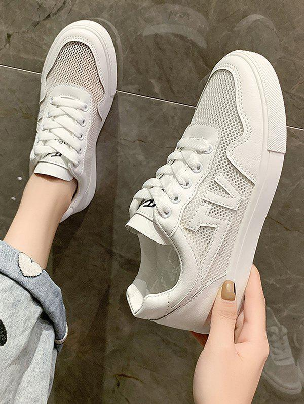 Latest Letter Pattern Mesh Lace Up Flat Sneakers