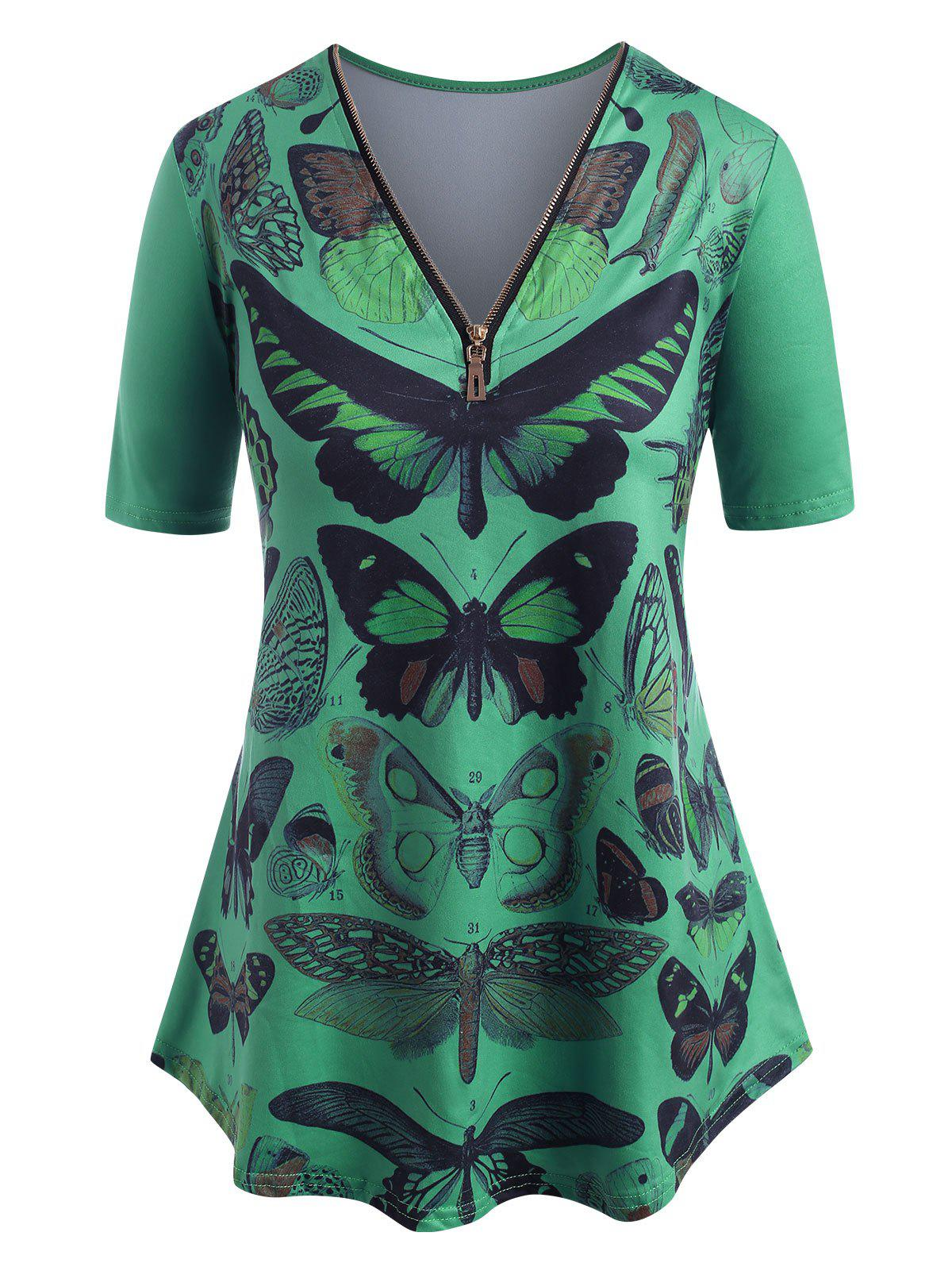 Affordable V Neck Quarter Zip Butterfly Print Plus Size Tee