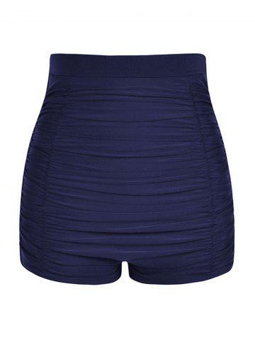 Plus Size Ruched Board Shorts - DEEP BLUE - L