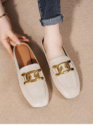 Square Toe Chain Slip-On Shoes -