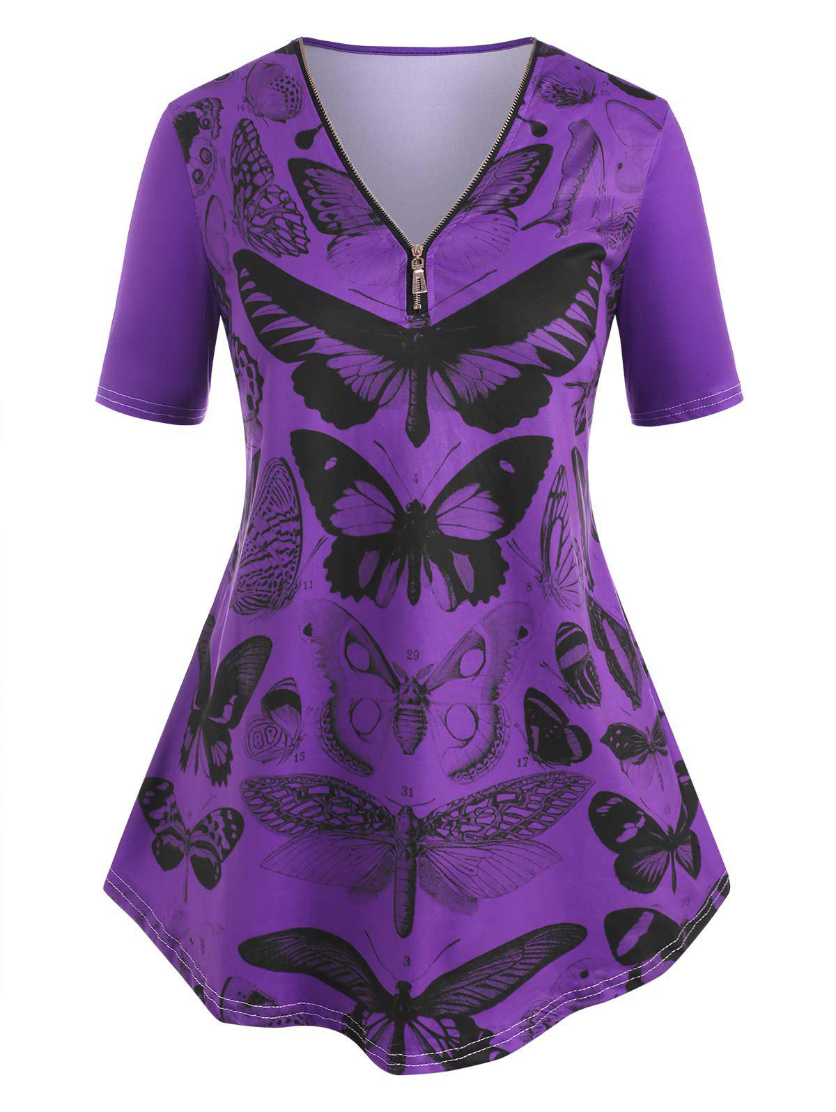 Chic V Neck Quarter Zip Butterfly Print Plus Size Tee