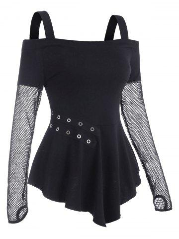 Fishnet Panel Cold Shoulder Grommet T Shirt with Thumb Hole