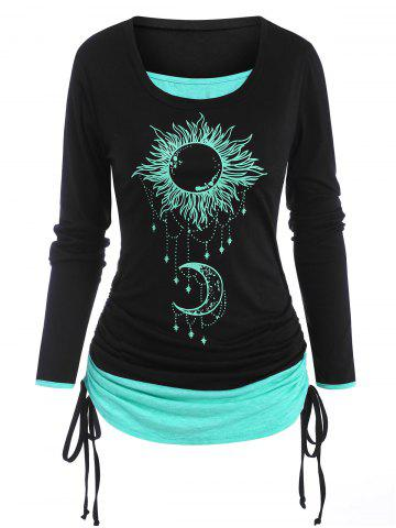 Cinched Sun Moon Print 2 in 1 T Shirt