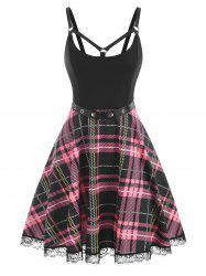 Lace Insert Plaid Belted Strappy Dress -