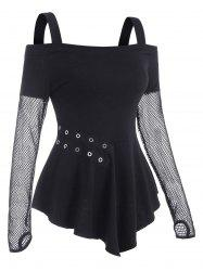 Fishnet Panel Cold Shoulder Grommet T Shirt with Thumb Hole -