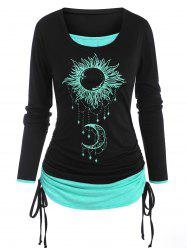 Cinched Sun Moon Print 2 in 1 T Shirt -