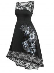 Plus Size Halloween Lace Panel High Low Dress -