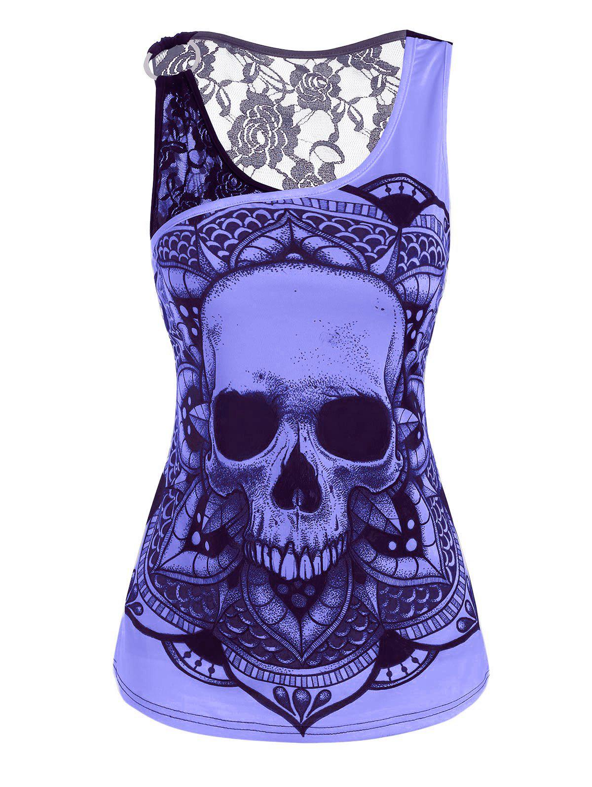 Outfit Lace Panel O Ring Skull Print Tank Top