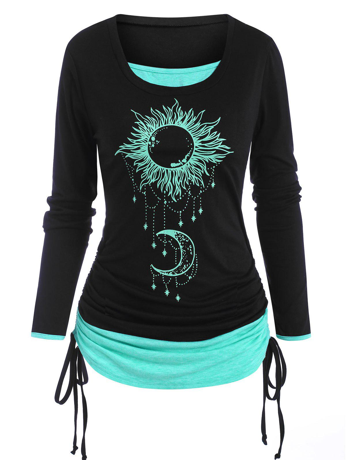Discount Cinched Sun Moon Print 2 in 1 T Shirt