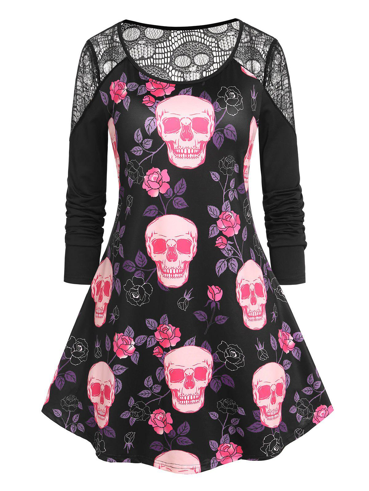 Outfits Plus Size Halloween Skull Print Lace Panel T-shirt