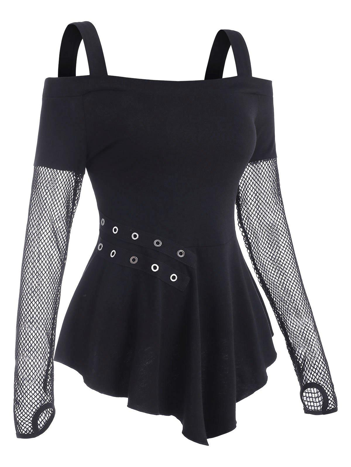 Chic Fishnet Panel Cold Shoulder Grommet T Shirt with Thumb Hole