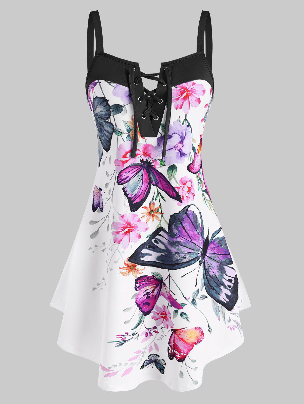 Best Lace Up Flower Butterfly Print Curved Hem Tank Top