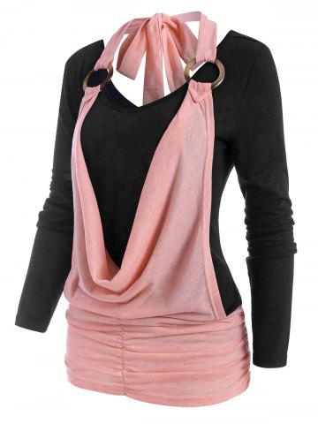 Two Tone Cowl Front O Ring Ruched T Shirt