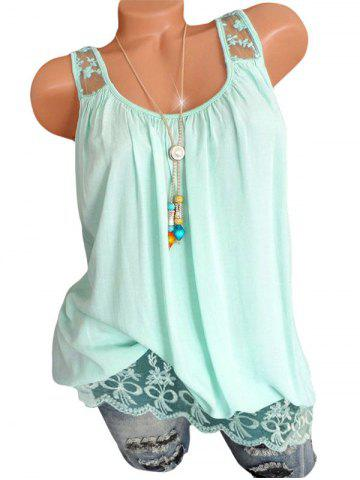 Lace Insert Flower Embroidered Longline Tank Top