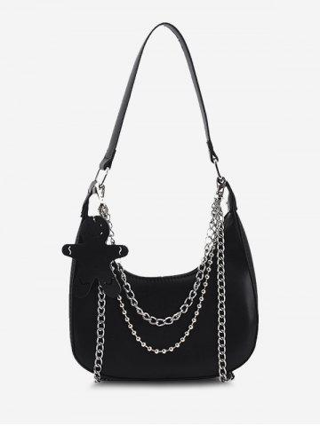 Double Chain Shoulder Bag With Pendant