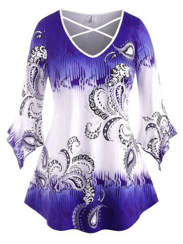 Flare Sleeve Paisley Criss Cross Plus Size Top - BLUE - 3X