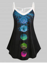 Plus Size Moon Eclipse Tied Curved Hem Tank Top -