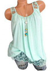 Lace Insert Flower Embroidered Longline Tank Top -