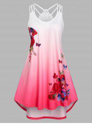 Plus Size Ombre Color Butterfly Print High Low Dress -