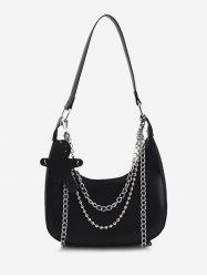 Double Chain Shoulder Bag With Pendant -