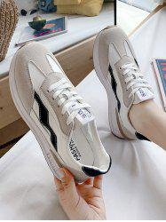 Lace-Up Spliced Flat Sneakers -