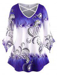 Flare Sleeve Paisley Criss Cross Plus Size Top -
