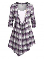 Plus Size Roll Up Sleeve Cowl Front Plaid Tee -
