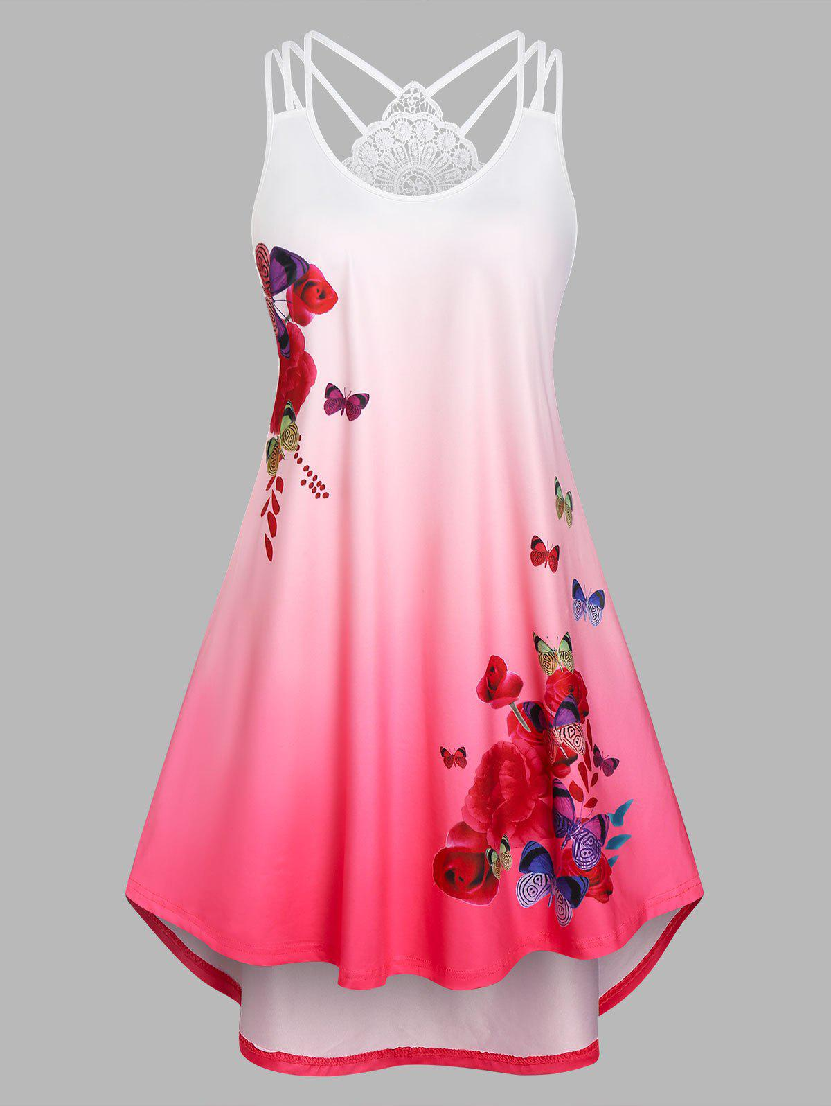 New Plus Size Ombre Color Butterfly Print High Low Dress