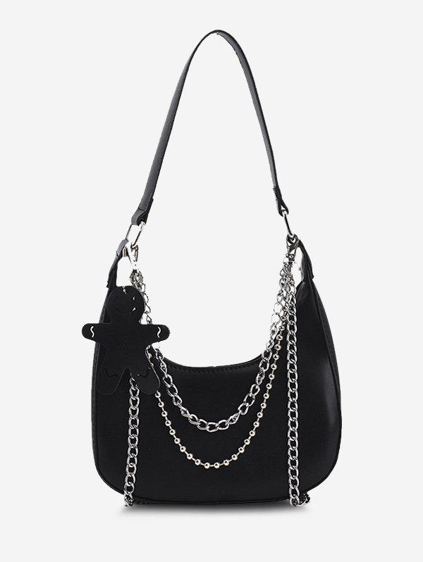 Trendy Double Chain Shoulder Bag With Pendant