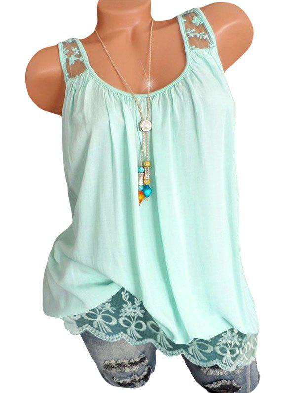 Outfit Lace Insert Flower Embroidered Longline Tank Top