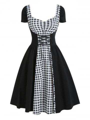 Star Gingham Ruched Lace Up Sweetheart Neck Dress