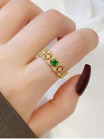 Hollow-Out Zircon Cuff Ring - GOLDEN - RESIZABLE