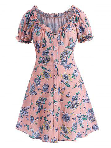 Plus Size Floral Frilled Button Down Puff Sleeve Textured Dress