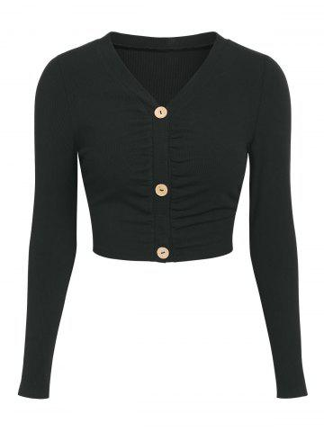 Button Up Ruched Cropped Cardigan