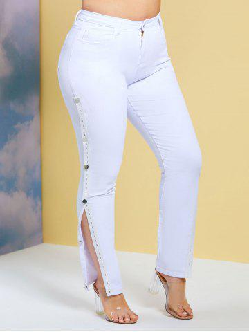 Side Buttoned Tape Skinny Plus Size Jeans - WHITE - 2XL