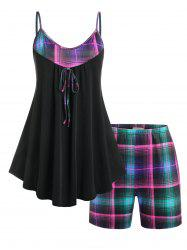 Plus Size Plaid Skirted PJ Cami Top and Shorts Set -