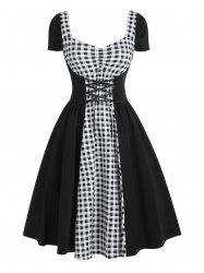 Star Gingham Ruched Lace Up Sweetheart Neck Dress -
