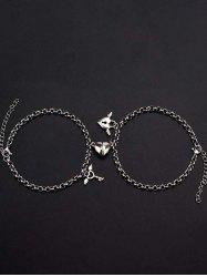 A Pair Heart Magnet Lock And Key Couple Bracelet -